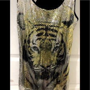 Sequin tiger print tank